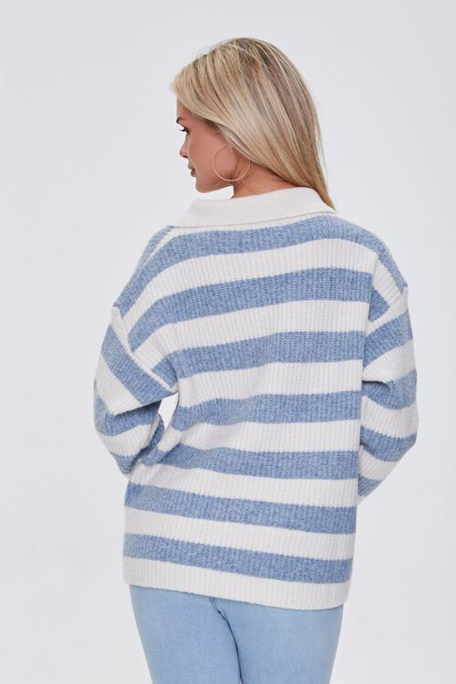 BLUE/IVORY Striped Sweater-Knit Pullover, image 3