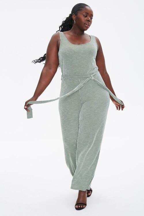 Plus Size Ribbed Pinstriped Jumpsuit, image 1