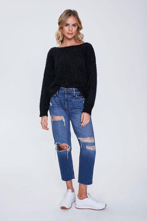 Fuzzy Knit Drop-Sleeve Sweater, image 4