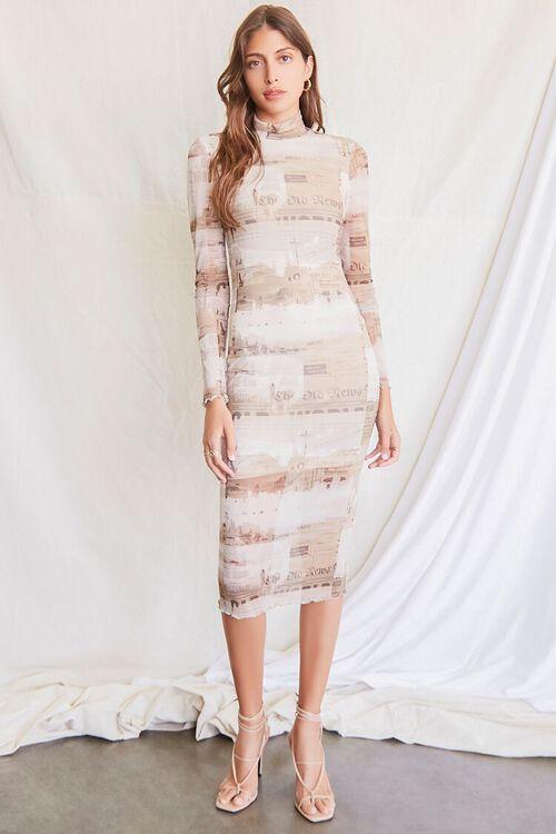 LIGHT BROWN/MULTI Newspaper Print Bodycon Dress, image 4