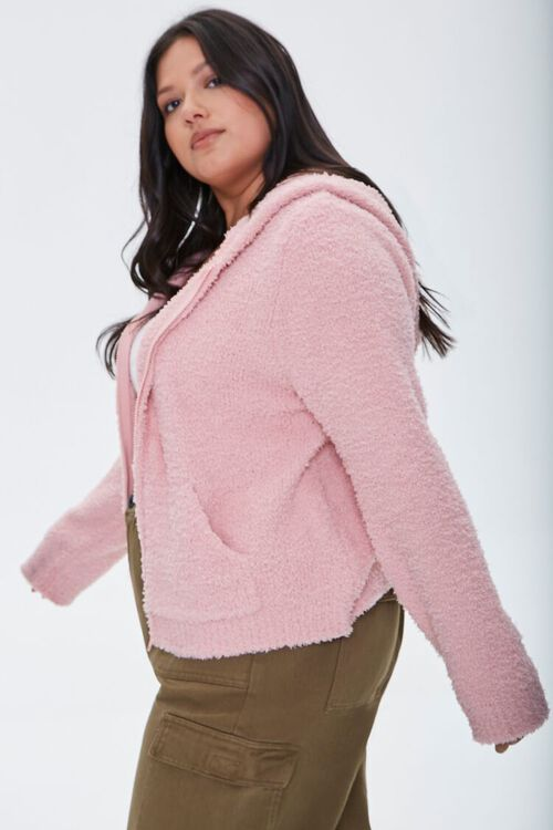 Plus Size Fuzzy Knit Zip-Up Hoodie, image 2