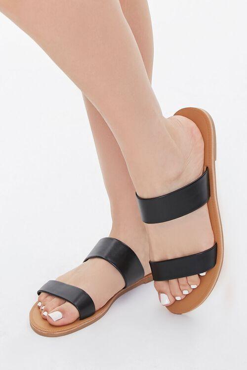 Faux Leather Dual-Strap Sandals, image 1