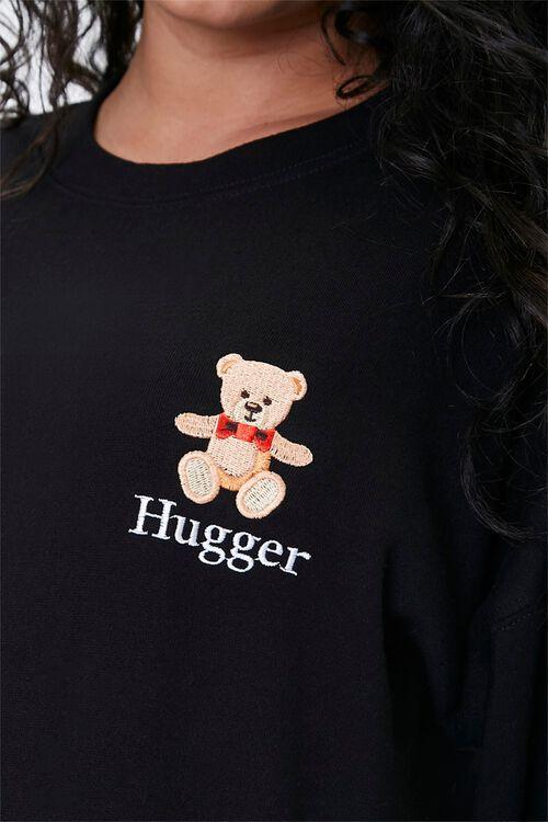 BLACK/MULTI Plus Size Embroidered Hugger Sweatshirt, image 5