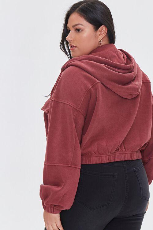 BURGUNDY Plus Size Hooded Flap-Pocket Jacket, image 3