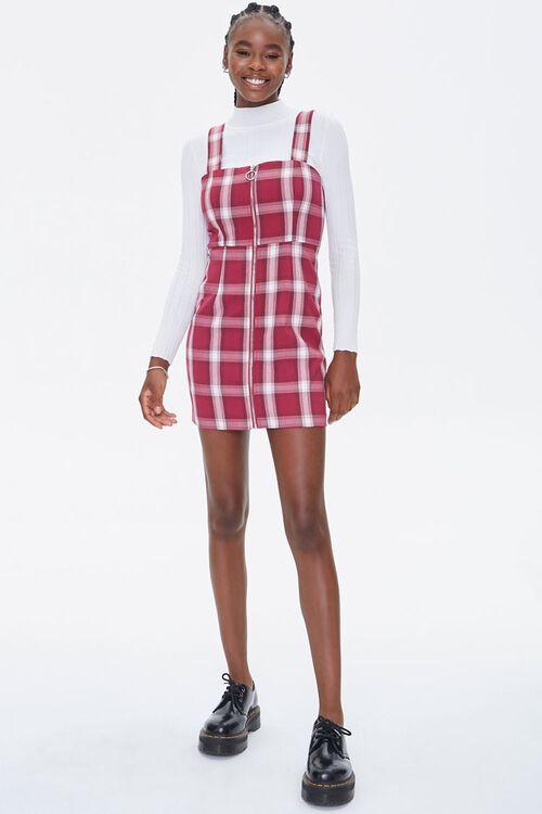 Plaid Zippered Overall Dress, image 4