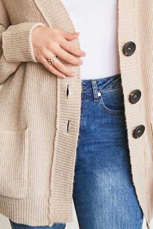 TAUPE Ribbed Longline Cardigan Sweater, image 5