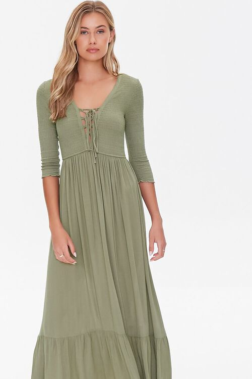 Plunging Lace-Up Maxi Dress, image 4