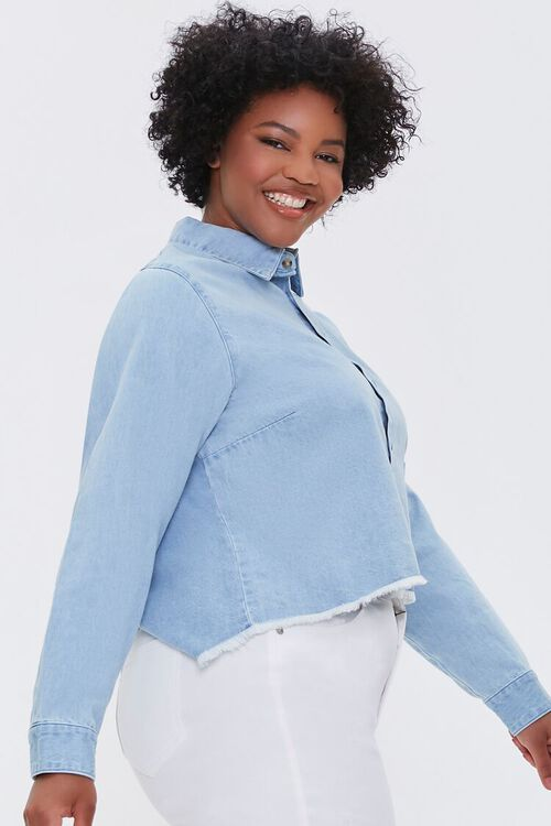 LIGHT DENIM Plus Size Frayed Denim Shirt, image 2