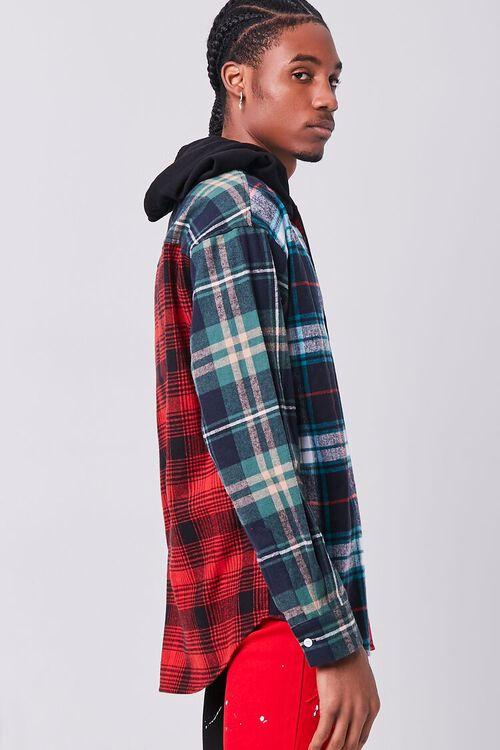Colorblock Plaid Hooded Shirt, image 2