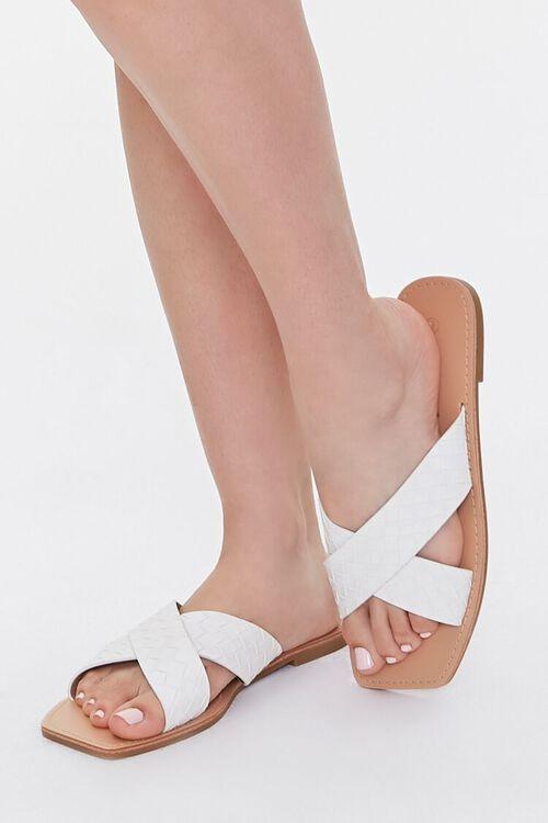 WHITE Crisscross Square-Toe Flat Sandals, image 1