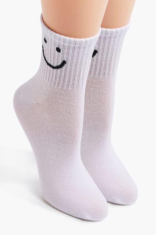 WHITE/BLACK Happy Face Graphic Crew Socks, image 1