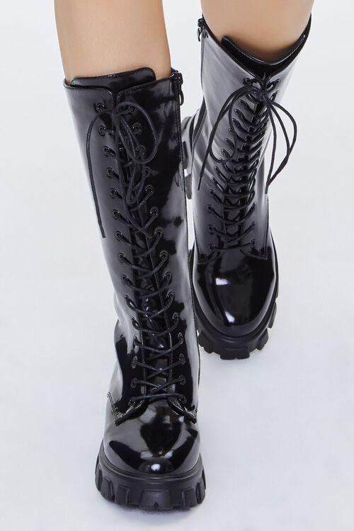 BLACK Faux Patent Leather Boots, image 4