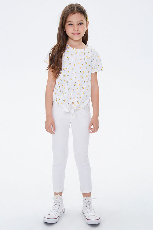 Girls Floral Print Knotted Tee (Kids), image 3