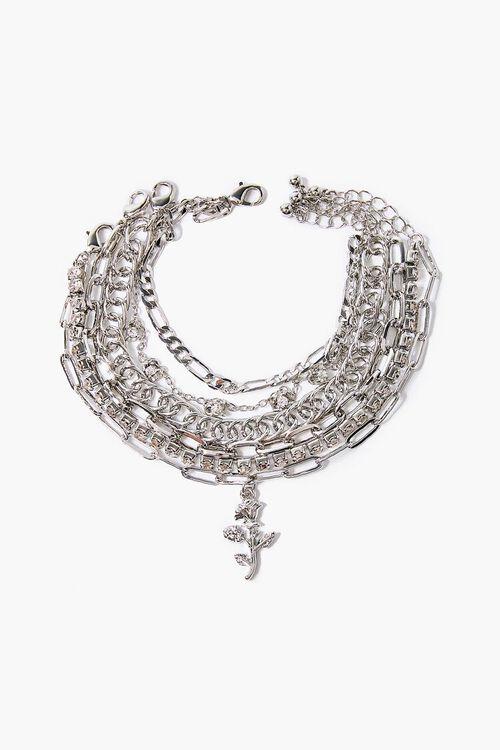 SILVER Rose Pendant Bracelet Set, image 2