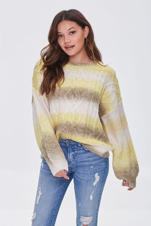 GREEN/MULTI Colorblock Cable Knit Sweater, image 1