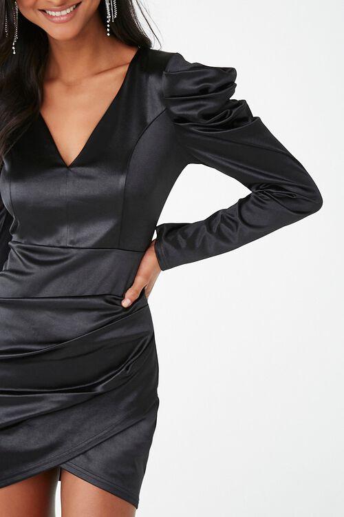 Satin Ruched Mini Dress, image 1
