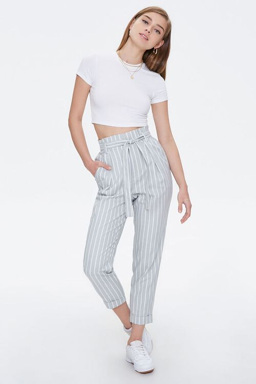 Cuffed Striped Paperbag Pants, image 5