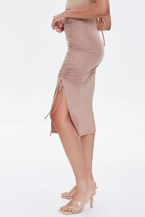 Ruched Drawstring Bodycon Midi Skirt, image 3