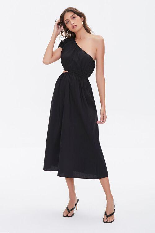 BLACK One-Shoulder Cutout Dress, image 4
