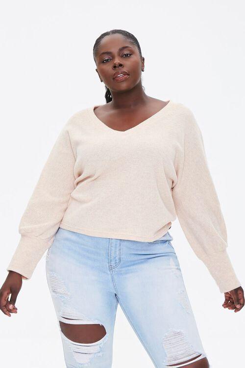 Plus Size V-Neck Sweater, image 1