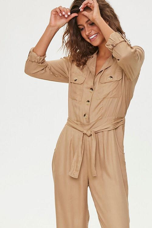 Tie-Waist Button-Front Jumpsuit, image 1