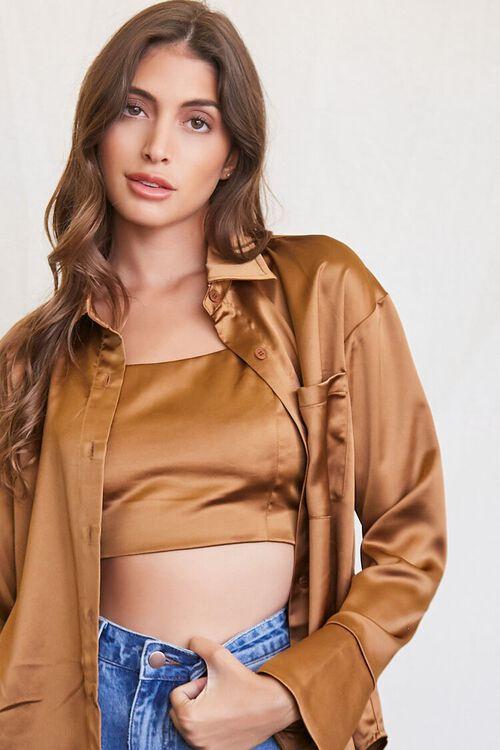 BROWN Satin Cropped Cami & Shirt Set, image 5