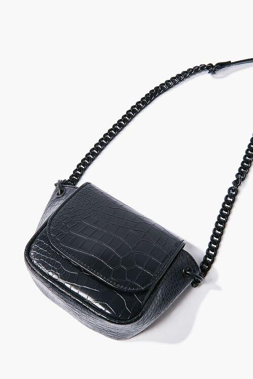 BLACK Faux Croc Leather Crossbody Bag, image 4