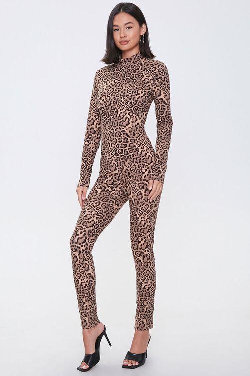 Leopard Print Mock Neck Jumpsuit, image 4