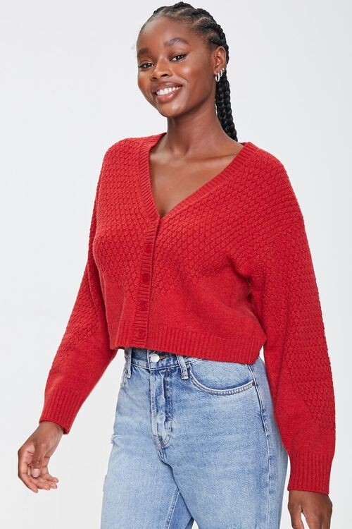 Textured Knit Cardigan Sweater, image 1