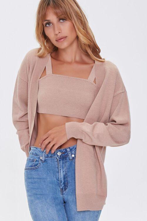 Sweater-Knit Crop Top & Cardigan Set, image 1