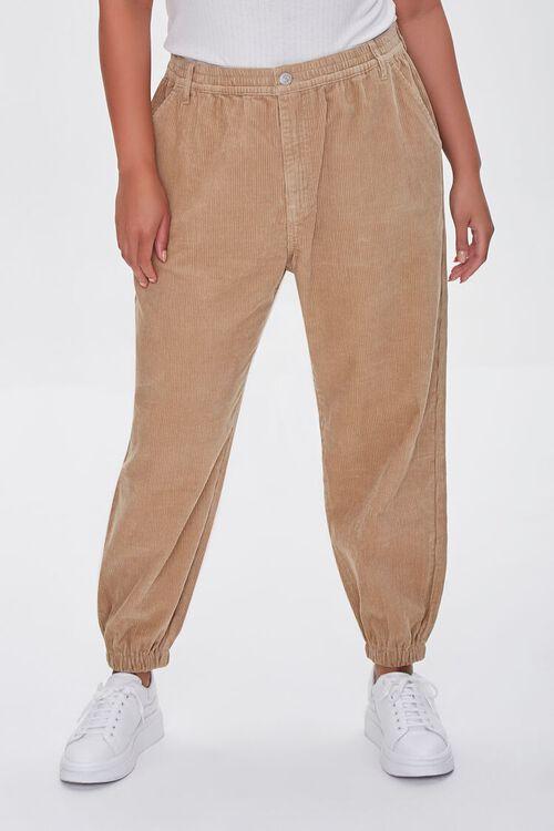 KHAKI Plus Size Corduroy Pocket Joggers, image 2