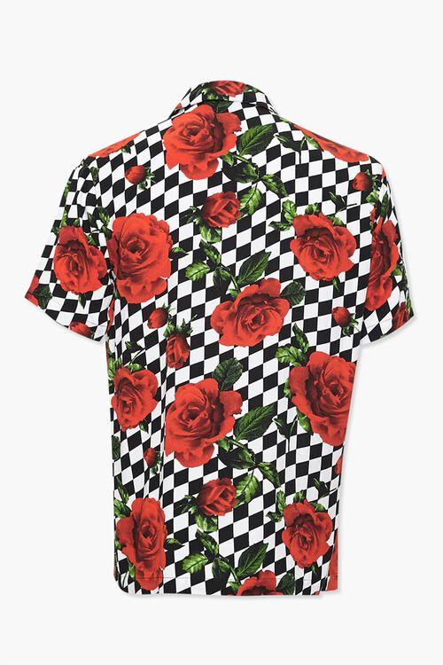 Checkered Rose Print Classic Shirt, image 2