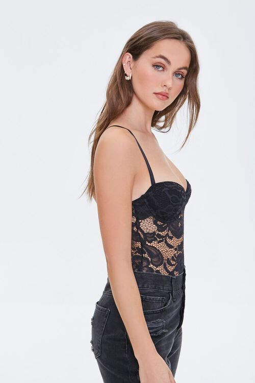 BLACK Embroidered Lace Bodysuit, image 2