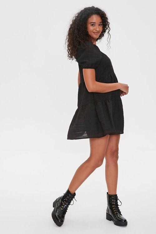 Striped Puff-Sleeve Mini Dress, image 2