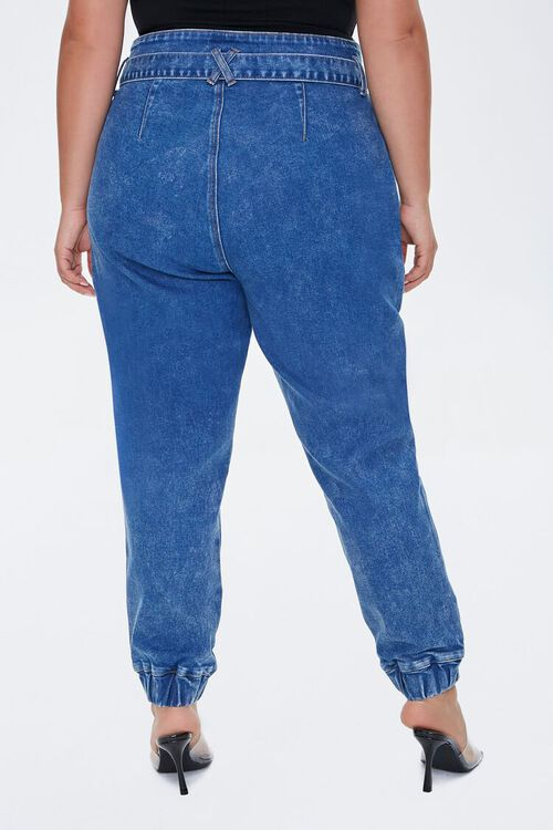 Plus Size Belted Denim Joggers, image 4