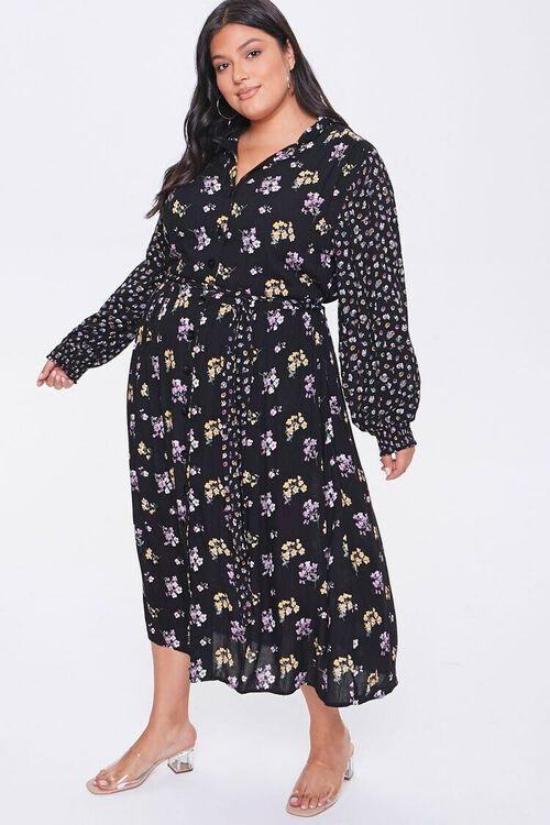 Plus Size Floral Print Buttoned Dress, image 1