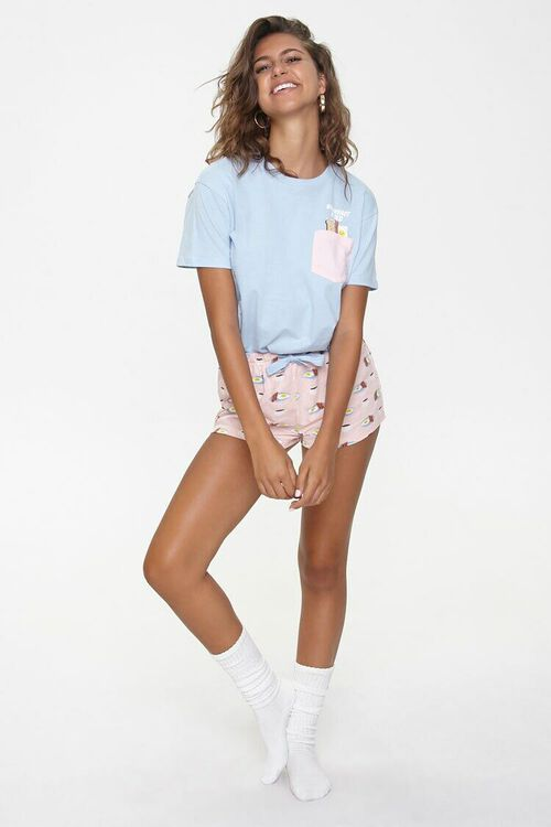 Breakfast Print Tee & Shorts Pajama Set, image 4