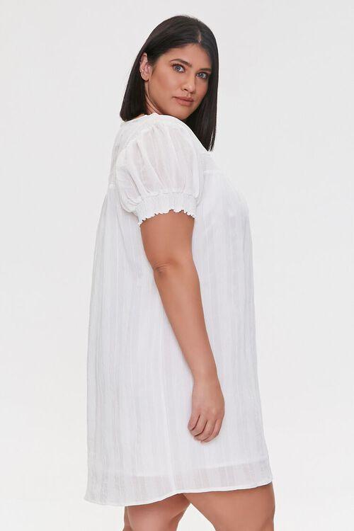 WHITE Plus Size Striped Mini Dress, image 3