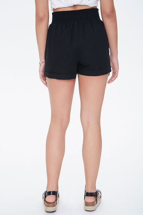 BLACK Smocked High-Rise Shorts, image 4
