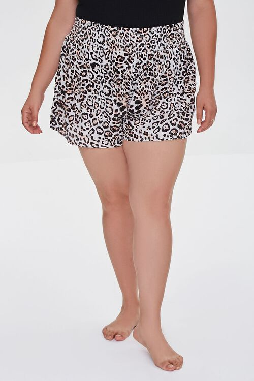 Plus Size Leopard Swim Cover-Up Shorts, image 2