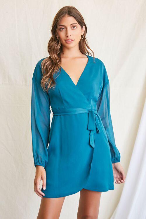 TEAL Tie-Waist Mini Dress, image 1
