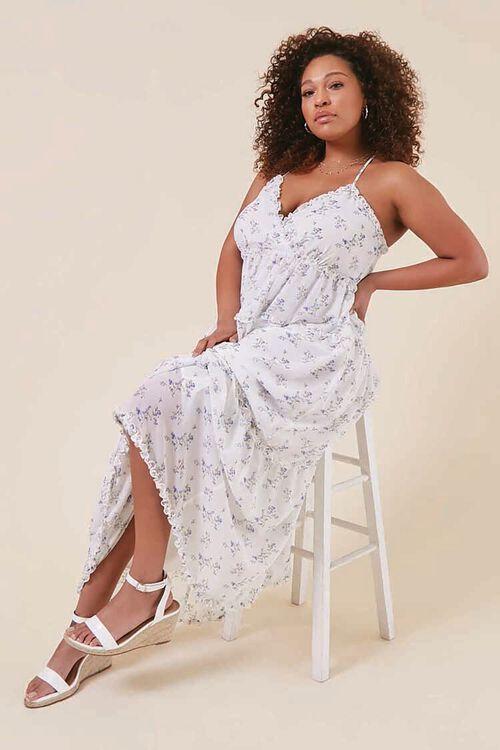 Plus Size Floral Print Chiffon Dress, image 1