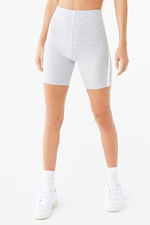 HEATHER GREY/WHITE Striped Biker Shorts, image 2