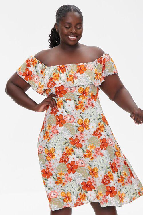 BLUE/MULTI Plus Size Floral Print Mini Dress, image 1
