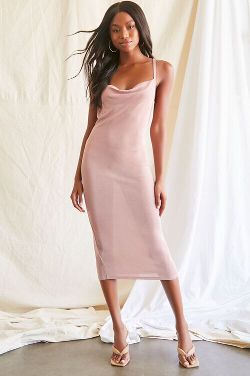 MAUVE Cowl Neck Cami Midi Dress, image 4