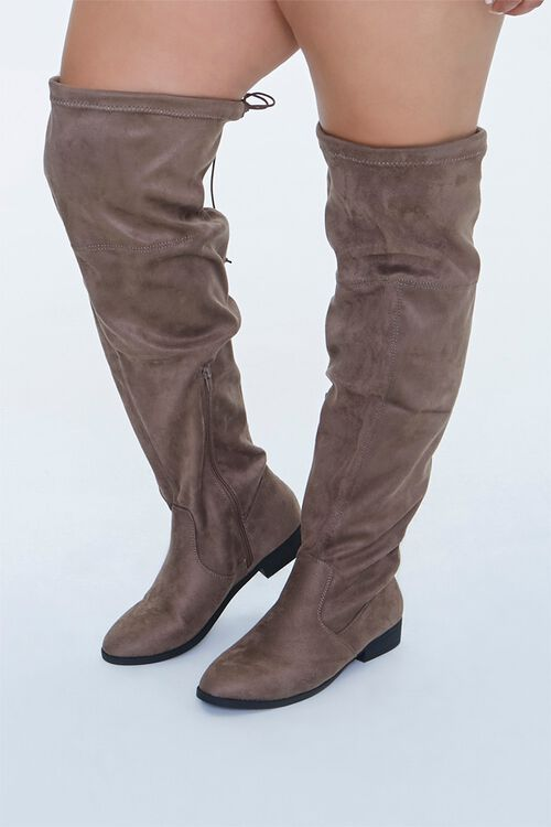 Faux Suede Thigh-High Boots (Wide), image 1