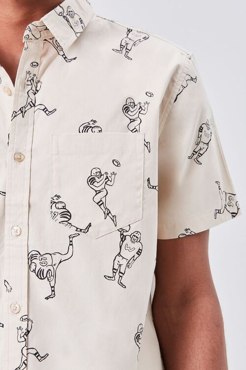 Football Player Print Fitted Shirt, image 5