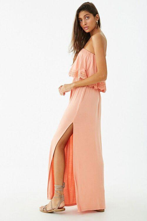 Strapless Crochet-Trim Flounce Dress, image 2