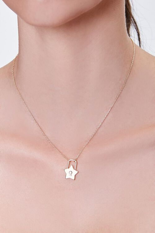 GOLD Star Lock Pendant Necklace, image 1