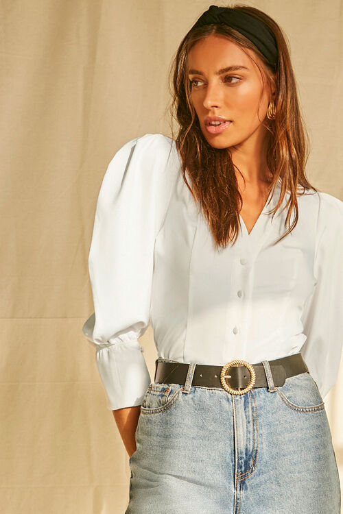 Buttoned Puff-Sleeve Top, image 1